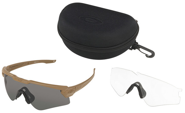 Oakley SI Ballistic M Frame Alpha Sunglasses with Terrain Tan Frame and Clear and Gray Lens