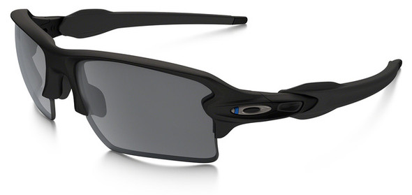 Oakley SI Thin Blue Line Flak Jacket 2.0 XL with Black Frame and Black Iridium Lens