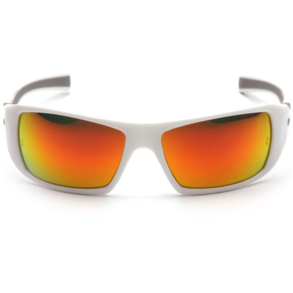 Pyramex Goliath Safety Glasses with Pearl White Frame and Sky Red Mirror Lens SW5655D Front View