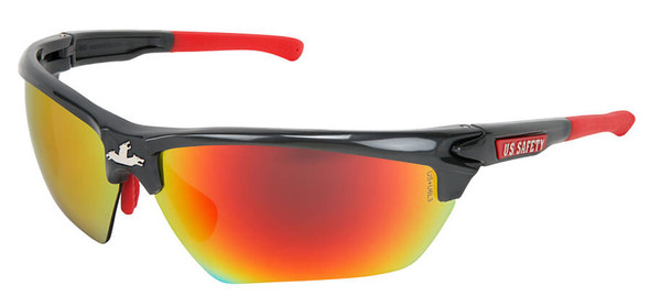 Crews Dominator 3 Safety Glasses with Gunmetal Colored Frame and Fire Mirror Lens DM131R