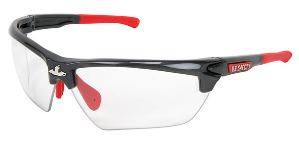 Crews Dominator 3 Safety Glasses with Gunmetal Colored Frame and Clear Anti-Fog Lens
