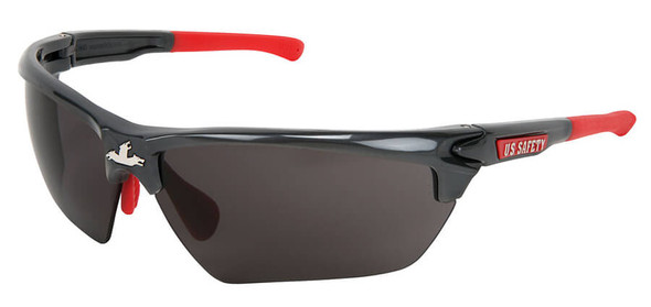 Crews Dominator 3 Safety Glasses with Gunmetal Colored Frame and Gray Lens