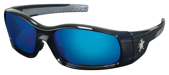 Crews Swagger Safety Glasses with Black Frame and Blue Diamond Mirror Lenses