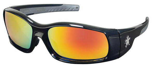 Crews Swagger Safety Glasses with Black Frame and Fire Mirror Lens