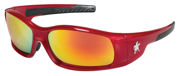Crews Swagger Safety Glasses with Red Frame and Fire Mirror Lens