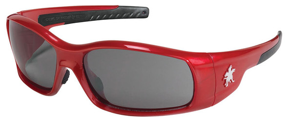 Crews Swagger Safety Glasses with Red Frame and Gray Anti-Fog Lens
