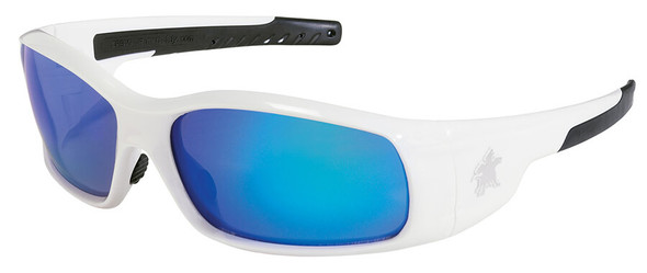 Crews Swagger Safety Glasses with White Frame and Blue Diamond Mirror Lens