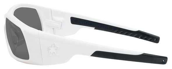 Crews Swagger Safety Glasses with White Frame and Gray Anti-Fog Lens - Side