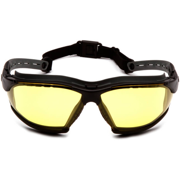 Pyramex Isotope Safety Glasses/Goggles Black Frame Amber H2MAX Anti-Fog Lens GB9430STM - Front