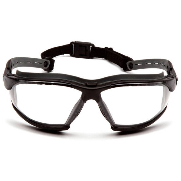 PPyramex Isotope Convertible Safety Glasses/Goggles Black Frame Clear H2MAX Anti-Fog Lens GB9410STM - Front