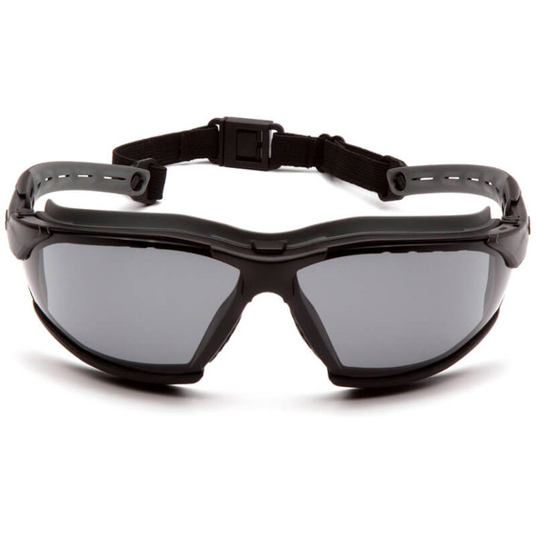 Pyramex Isotope Convertible Safety Glasses/Goggles with Black Frame and Gray Anti-Fog Lens - Front
