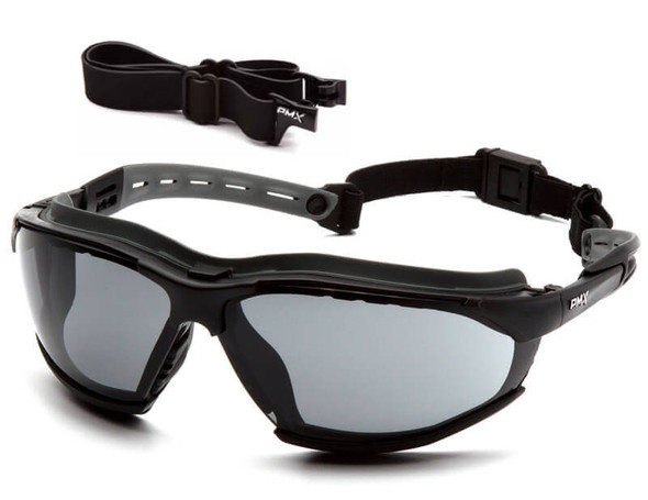 Pyramex Isotope Convertible Safety Glasses/Goggles Black Frame Gray H2MAX Anti-Fog Lens