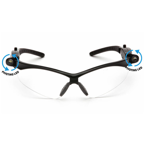 Pyramex PMXtreme LED Safety Glasses with Black Frame and Clear Anti-Fog Lens - Front