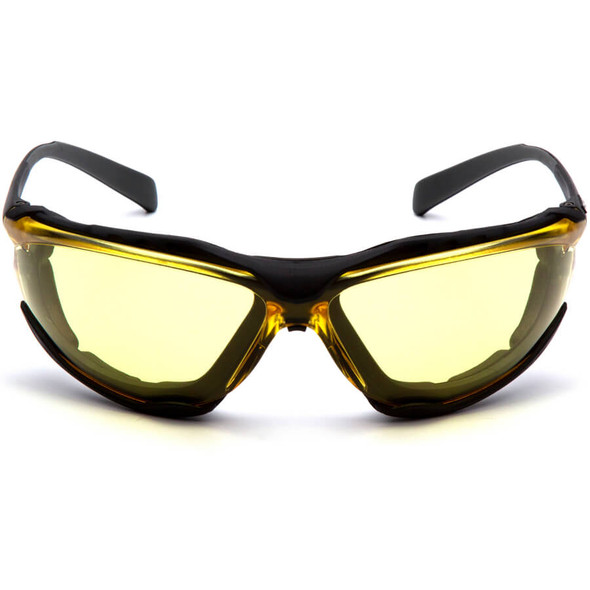 Pyramex Proximity Safety Glasses with Black Frame and Amber Lens - Front