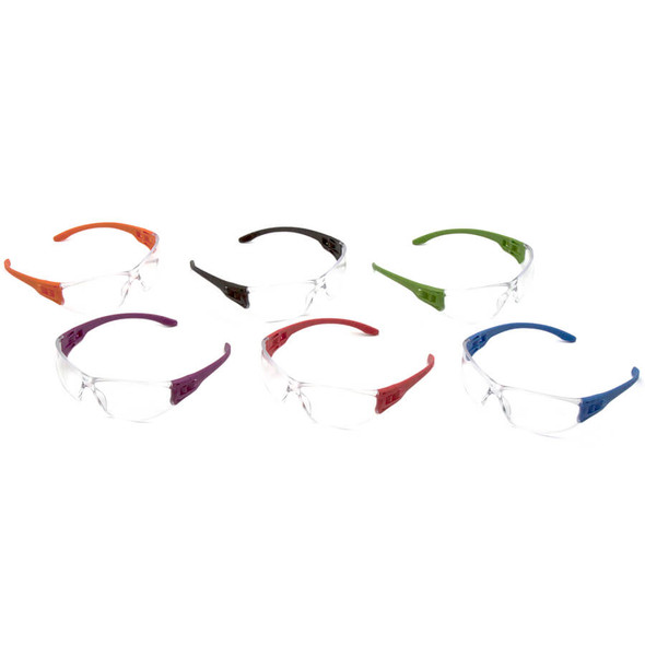 Pyramex Trulock S9510SMP Dielectric Safety Glasses Multi-Pack with Assorted Temples and Clear Lens - Assorted Temple Colors