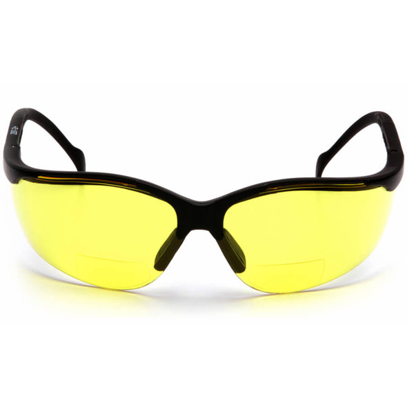 Pyramex Venture II Bifocal Safety Glasses with Black Frame and Amber Lens - Front
