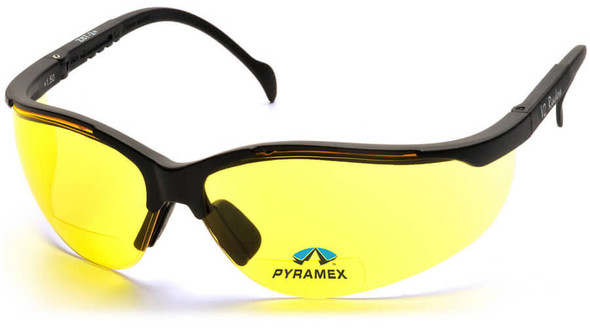 Pyramex V2 Reader Bifocal Safety Glasses with Black Frame and Amber Lens