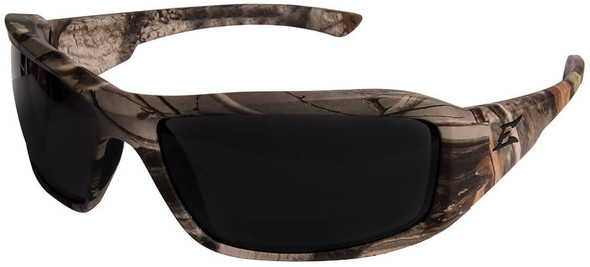 Edge Brazeau Ballistic Safety Glasses with Forest Camo Frame and Smoke Lens