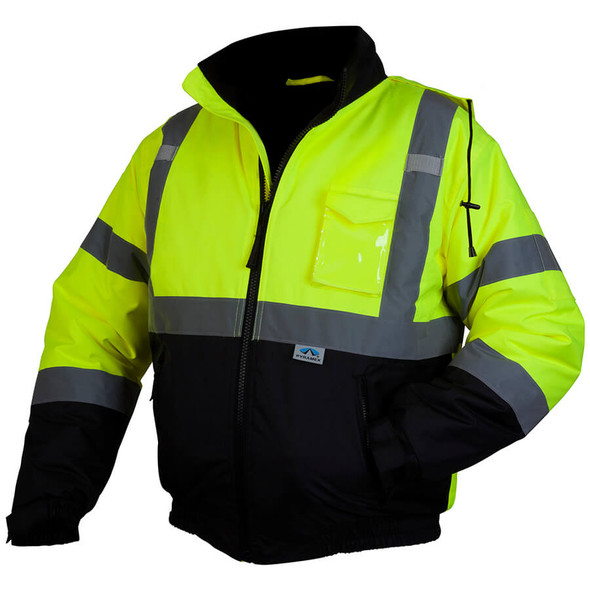 Pyramex RJ3210 Class 3 Hi-Viz Lime Safety Jacket with Quilted Liner