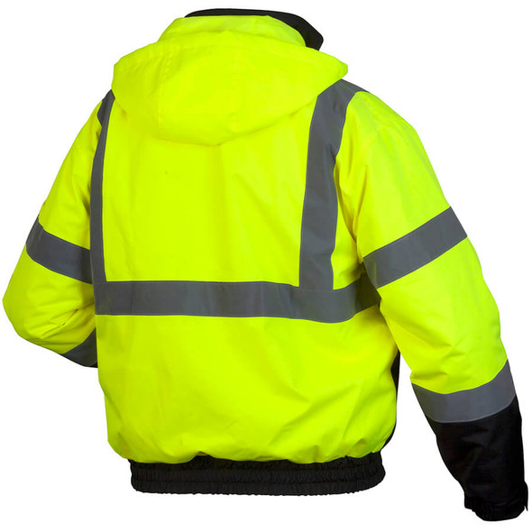 Pyramex Lumen-X RJ31 Class 3 Hi-Viz Lime Safety Jacket with Zip-out Liner - Back