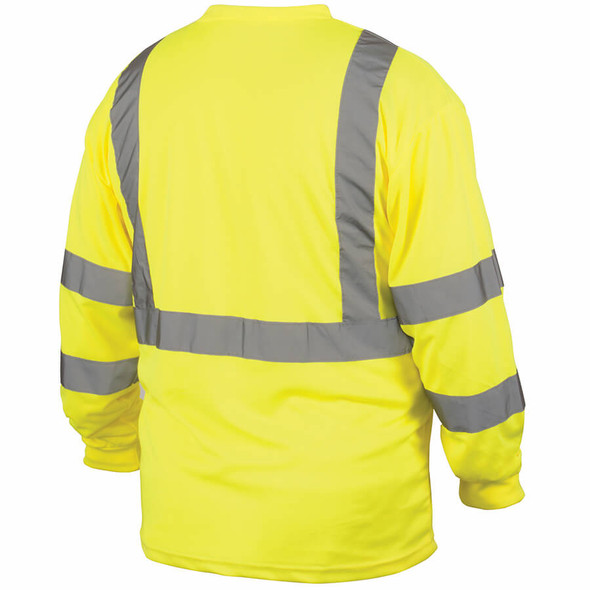 Pyramex RLTS31 Type R Class 3 Long Sleeve Safety T-Shirt Hi-Vis Lime - Back
