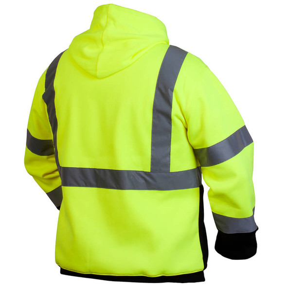 Pyramex Lumen-X RSSH32 Class 2 Hi-Viz Lime Pullover Safety Sweatshirt - Back
