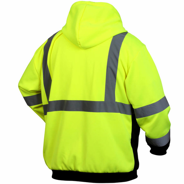 Pyramex RSZH32 Class 2 Hi-Viz Lime Zipper Safety Sweatshirt - Back