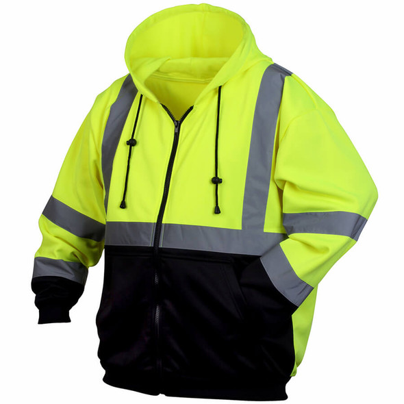 Pyramex RSZH32 Class 2 Hi-Viz Lime Zipper Safety Sweatshirt