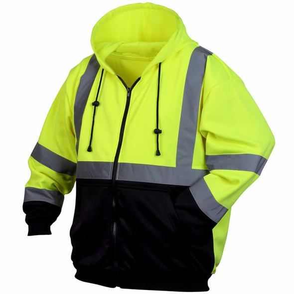 Pyramex RSZH32 Class 2 Hi-Viz Lime Zipper Safety Sweatshirt
