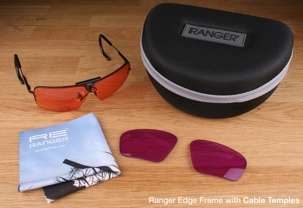 Randolph Edge 2-Lens Clay Kit with HD Medium and Dark Purple Lenses with Cable Temples