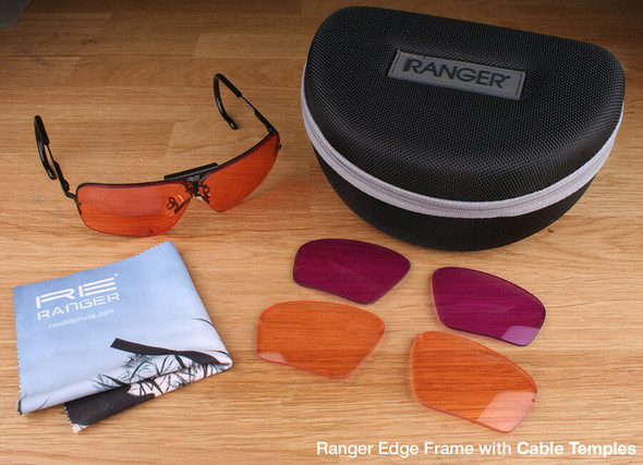 Randolph Edge 3-Lens Clay Kit with HD Light, HD Medium and Dark Purple Lenses with Cable Temples