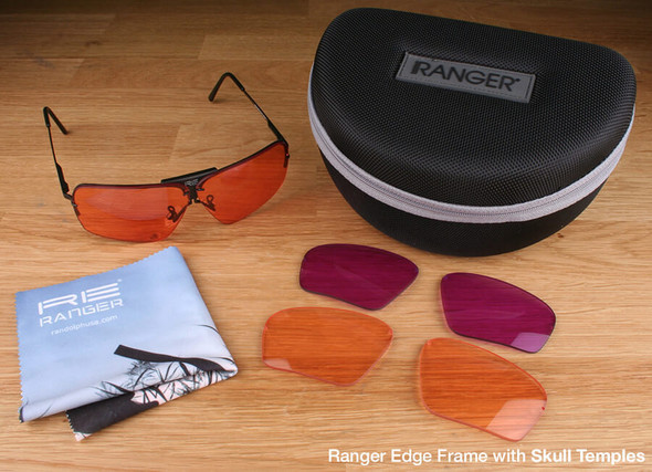 Randolph Edge 3-Lens Clay Kit with HD Light, HD Medium and Dark Purple Lenses with Skull Temples