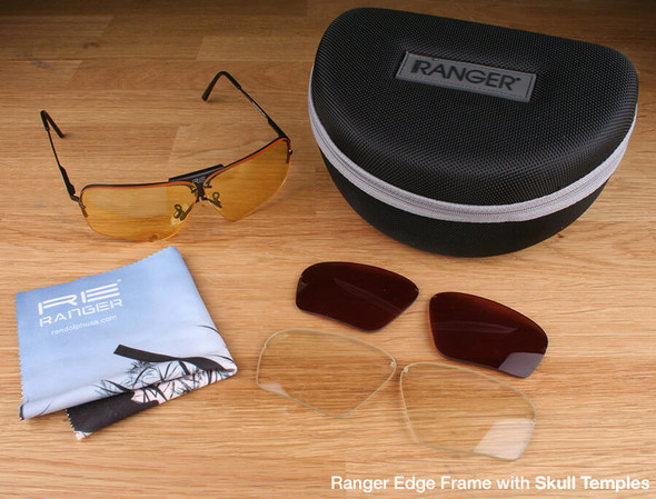 Randolph Edge 3-Lens Premium Hunting Kit with Pale Yellow, Medium Yellow and Mod Brown Lenses with Skull Temples