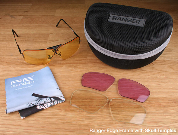 Randolph Edge 3-Lens Rifle & Pistol Kit with Pale Yellow, Medium Yellow and Light Purple Lenses with Skull Temples