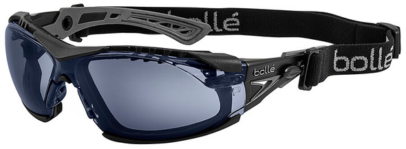 Bolle Rush Plus Safety Glasses with Black/Gray Temples, Foam Gasket and Smoke Platinum Anti-Fog Lens
