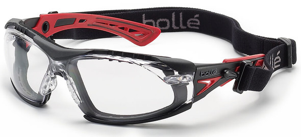 Bolle Rush Plus Safety Glasses with Black/Red Temples, Foam Gasket and Clear Platinum Anti-Fog Lens 40252
