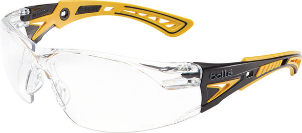 Bolle Rush Plus Safety Glasses with Black/Yellow Temples and Clear Platinum Anti-Fog Lens