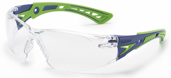 Bolle Rush Plus Safety Glasses with Blue/Green Temples and Clear Platinum Anti-Fog Lens