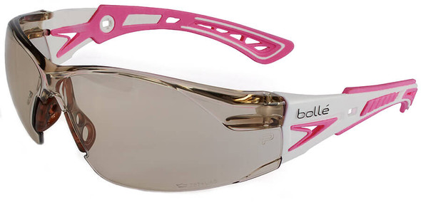 Bolle Rush Plus Small Safety Glasses with White/Pink Temples and CSP Lens with Platinum Anti-Fog