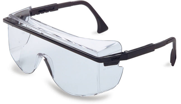 Uvex Astrospec OTG 3001 Safety Glasses Black Frame Clear Anti-Fog Lens S2500C