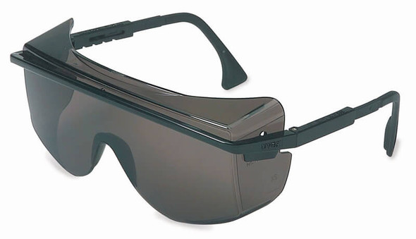 Uvex Astrospec OTG 3001 Safety Glasses with Black Frame and Gray Anti-Fog Lens