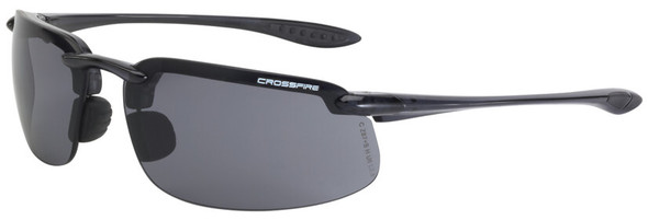 Crossfire ES4 Safety Glasses with Crystal Black Frame and Smoke Lens