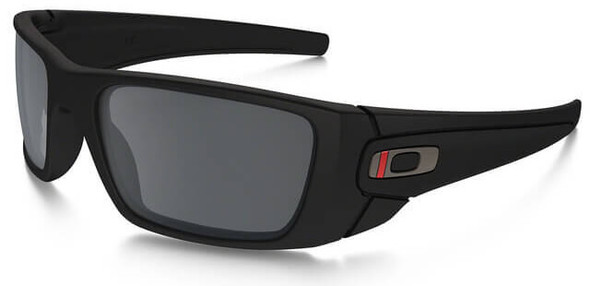 Oakley SI Thin Red Line Fuel Cell Sunglasses with Satin Black Frame and Black Iridium Lens