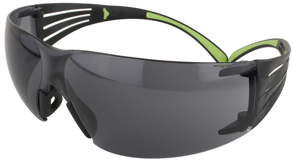 3M SecureFit Safety Glasses with Black/Lime Temples and Gray Anti-Fog Lens