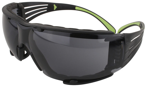 3M SecureFit Safety Glasses with Black/Lime Temples, Foam Padding and Gray Anti-Fog Lens