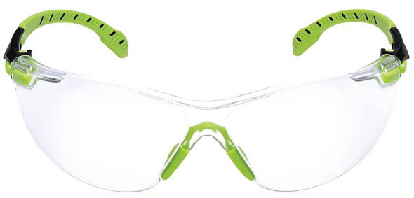 3M Solus Safety Glasses with Green Temples and Clear Anti-Fog Lens - Front