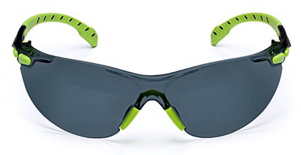 3M Solus Safety Glasses with Green Temples and Gray Anti-Fog Lens S1202SGAF - Front View