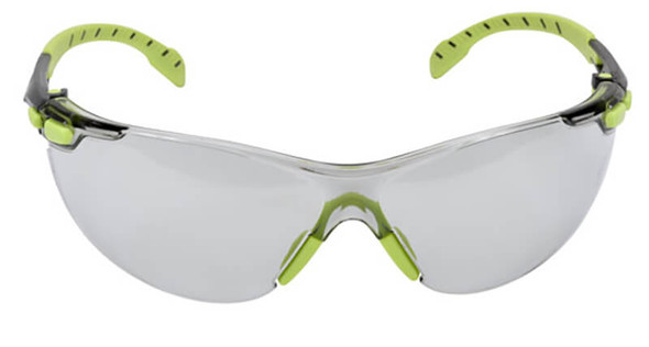 3M Solus Safety Glasses with Green Temples and Indoor/Outdoor Anti-Fog Lens S1207SGAF - Front View