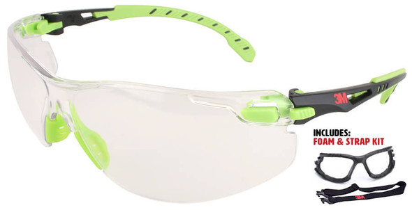 3M Solus Safety Glasses with Clear Anti-Fog Lens, Temples, Foam & Strap S1201SGAF-KT