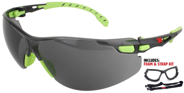 3M Solus Safety Glasses with Green Temples, Gray Anti-Fog Lens and Foam & Strap Kit